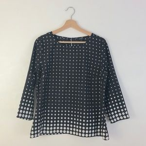 J Crew Black & White Long Sleeve Polka Dot Top M